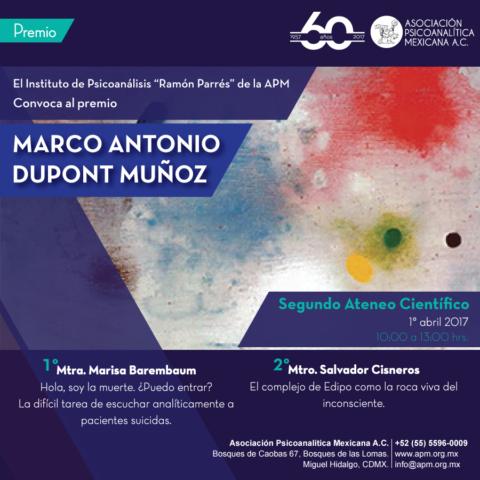 Premio Marco Antonio Dupont Muñoz del Instituto de Psicoanálisis Ramón Parres