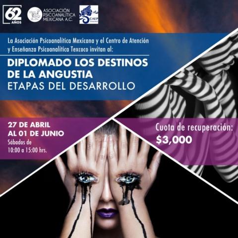La Asociación Psicoanalítica Mexicana y Centro de Atención y Enseñanza Psicoanalítica Texcoco invitan al Diplomado «Los destinos de la angustia: Etapas del desarrollo».